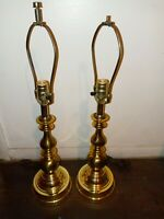 "Pair Brass Table Lamps 28"" Tall"