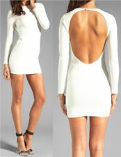 Womens Casual Club Party Celebrity Tight Slim Fit Bodycon Mini Dress WHITE Small