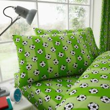 FOOTBALL SINGLE FITTED SHEET & PILLOWCASE SET GREEN CHILDRENS STRIPED