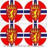 """NORWAY Norwegian Flag, Coat of Arms Roundels 50mm (2"""") Vinyl Stickers Decals  x4"""