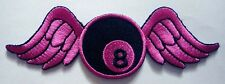 #1 8 EIGHT BALL BILLIARDS POOL WING FLY Embroidered Iron on Patch Free Shipping