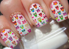 Cute Owls A1068 Nail Art Stickers Transfers Decals Set of 22