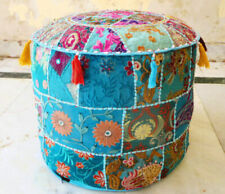 "14X22"" Handmade Patchwork Indian Round Stool Cover Throw Vintage Ottoman Pouf"
