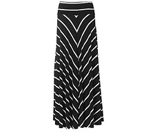 TALBOTS BLACK WHITE CHEVRON STRIPED ELASTIC WAIST MAXI KNIT SKIRT PLUS Sz 3X