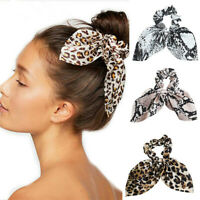 Women Hair Scrunchie Knot Bow Hair Band Hair Tie Leopard Ponytail Holder Bands