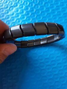 "Black Tourmaline CHARGED 8"" (Med-Large) Natural Stone Crystal Stretchy Bracelet"