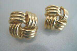 14K YELLOW GOLD PARQUET TUBES BASKET WEAVE PATTERN POST EARRINGS