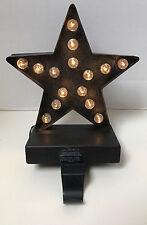 POTTERY BARN LIT STAR BRONZE STOCKING HOLDER New in Box
