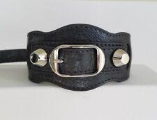 BALENCIAGA Arena Textured Grey Leather Bracelet Silver Hardware Size M NEW $245
