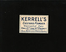 VINTAGE Match Matchbox Label DEEP RICH COLOR Advert Karrell's Custard Powder B1
