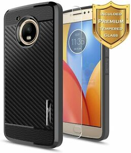 For Motorola Moto G5 Plus Phone Case Ultra Slim Bumper Cover With Tempered Glass