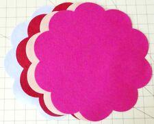 "11-1/2"" Scalloped Circle U PICK COLOR- Penny Rug - Wool blend Felt  2 Pieces"