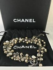 CHANEL Extra Long Silver Necklace CC w/ Pearls & Crystal Studded Beads