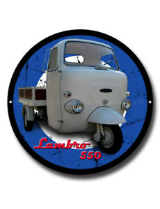 LAMBRO 550 METAL SIGN.3 WHEELER SCOOTERS,VINTAGE SCOOTERS,MODS,