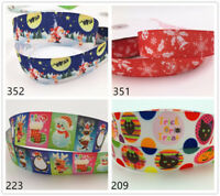 DIY Free 10 Yard 1'' 25MM Printed Grosgrain Hair Bow Sewing Christmas Ribbon