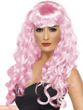Ladies Pink Siren Wig Adults Halloween Vampire Witch Fancy Dress Accessory