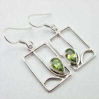 """Green Peridot Dangle Earrings 1.6"""" 925 Pure Sterling Silver Gemstone Jewelry"""