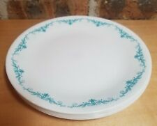 Set of 5 Corelle GARDEN LACE Lunch/Salad Plate Teal Blue Floral Border Swirls