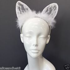 Trendy White Lace Cat Ears Fur Headband For Fancy Dress Costume Party