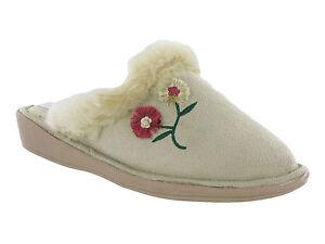 WOMENS WARM MULE SLIPPERS FLOWER COSY SLIP ON FUR TRIM LADIES STRONG SOLE UK 3-8