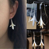 925 Silver Plated Long Flower Jewelry Earrings Handmade Drop Earrings Jewelry hs