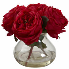 Fancy Rose W/Vase & Liquid Illusion Faux Water Nearly Natural Home Decor Red