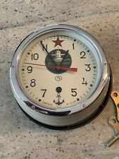 Vintage Soviet Cccp Submarine Wall Clock With Original Paperwork. Works Well.