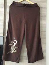 Ladies Linen Brown Phoenex Embroirdery 3/4 Length Trouser Size 10 Brand New