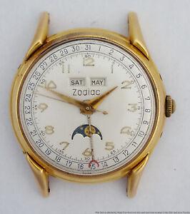 Vintage Zodiac Triple Date Calendar Moonphase 35mm 1202 Mens Wrist Watch