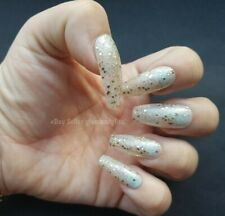 24 Hand Painted Gel False Nails Jelly Gold Glitter - Coffin Stiletto Square Oval