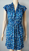 New French Connection size UK 4 - 6 Blue Yellow Floral Print Tunic Dress