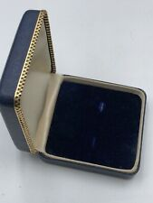 ANTIQUE VINTAGE BLUE NAVY LEATHER JEWELRY BOX 4 DISPLAY SMALL PERFECT GOLD TRIM