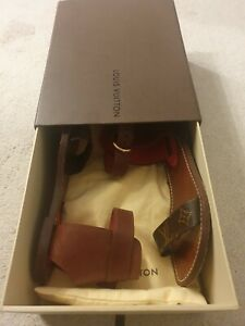 Genuine Louis Vuitton Brown Gold Monogram Leather Sandals Shoes Size 37.5 UK 5