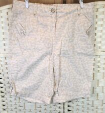 BHS Beige Pattern 100% Cotton Longer Length NEW Summer Shorts 10/12 Pockets