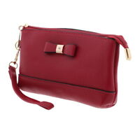 Womens Wrislet Wallet Red Vegan Leather with Bow Card Holder Girls Purse
