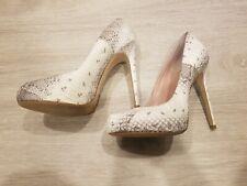 """Alejandro Ingelmo """"Grace"""" White Snakeskin Leather Round Toes Heels $800 size 6"""