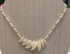 Hawaiian Mother Pearl White Shell Choker Necklace