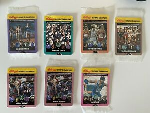 Kelloggs Olympic Champions Cards X9 Some Sealed 1991 Vintage Retro Sports Cereal