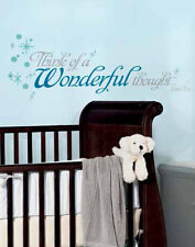 PETER PAN Quote: THINK A WONDERFUL THOUGHT wall stickers 20 decals Wendy kids