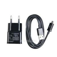 Black USB Cable with EU Plug 2A Wall Charger for Samsung Galaxy Note 2 S3  E0Xc