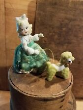 ANTIQUE VINTAGE PORCELAIN CHINA GIRL WITH DRESS AND CHAIN POODLE -EMPRESS LABEL