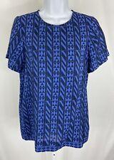 Madewell Size Small Womens Shirt Blouse Short Sleeve Blue 100% Silk