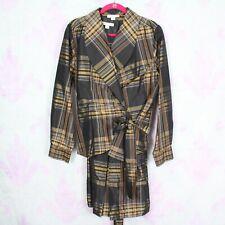 Pendleton Petites 18 18P Black Gold Plaid Silk A-Line Dress Wrap Blazer 2 Pc Set