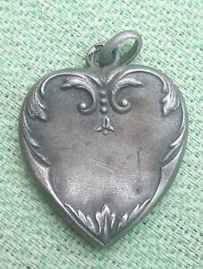 Pendentif Argent coeur art nouveau bijoux ancien silver jewerly 2.2g 27x19mm