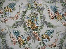 Unused vintage linen union floral Sanderson fabric 'Barbola', 1M lengths, roses