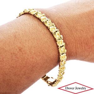 Estate 14K Gold Fancy Nugget Style Link Bracelet 19.3 Grams NR