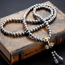 Outdoor Stainless Steel Titanium 108 Buddha Beads Necklace Chain Self Defense Be