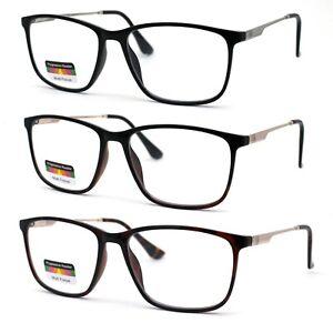 Mens Narrow Rectangular Spring Hinge 3-Focal Progressive Reading Glasses
