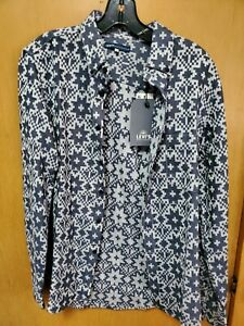 NWT LEVIS MADE & CRAFTED Small Jacquard Western Aztec Chambray Denim Blue Shirt
