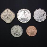 Bahamas Set 5 PCS Coins, 1+5+10+15+25 Cents, 1992-2009, UNC